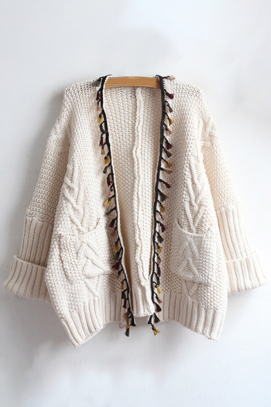Fashion Cardigan Embellished Front Long New Sleeve Open Tassel aS4dSxvn