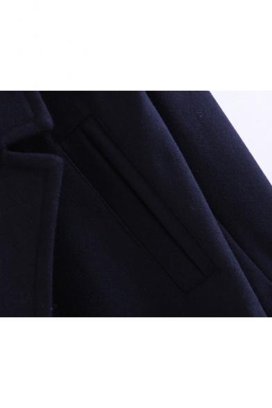 New Stylish Notched Collar Long Sleeve Simple Plain Tunic Coat