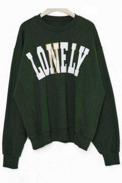 Pullover Letter Neck Sleeve Round Sweatshirt Long Embroidered pAvX1A0q6