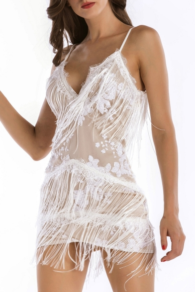Sexy Deep V-Neck Spaghetti Straps Tassel Layered Sequined Mini Dress