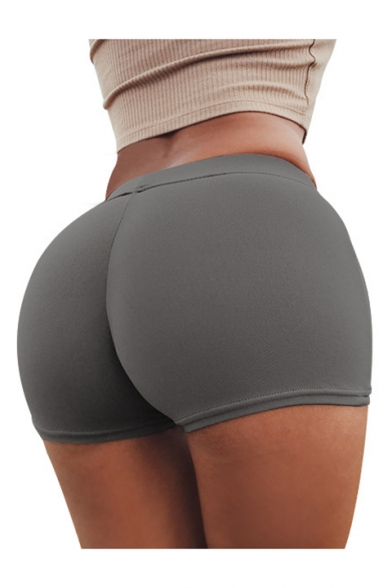 Sexy Simple Plain Elastic Waist Skinny Sports Shorts