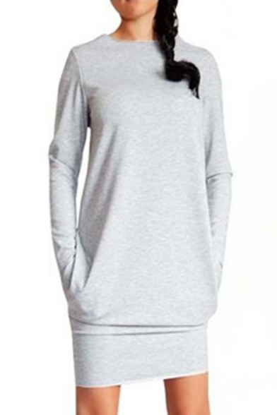 Simple Plain Round Neck Long Sleeve Long Sleeve Mini Dress