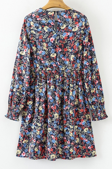 Summer's Floral Pattern Round Neck Long Sleeve Mini A-Line Dress