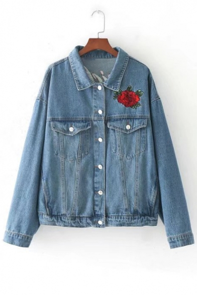 Floral Crane Embroidered Back Lapel Buttons Down Long Sleeve Denim Jacket