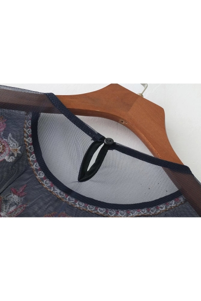 Fashion Sexy Sheer Mesh Chic Embroidered Long Sleeve Round Neck Blouse