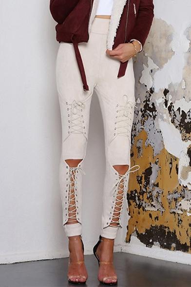 New Fashion Crisscross Drawstring Front High Waist Skinny Pants