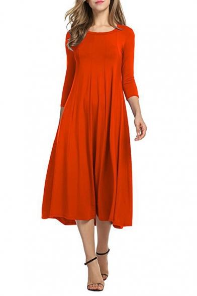 Neck Round Dress Length New Fashion Midi 3 4 Plain Sleeve Swing Simple Iq7Ff