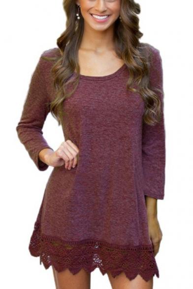 Simple Plain Crochet Hem Scoop Neck Long Sleeve Short Dress