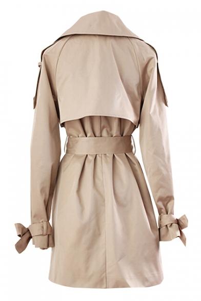 Sleeve Long Notch Simple Waist Lapel Coat Plain Belt Trench wBU7qH6
