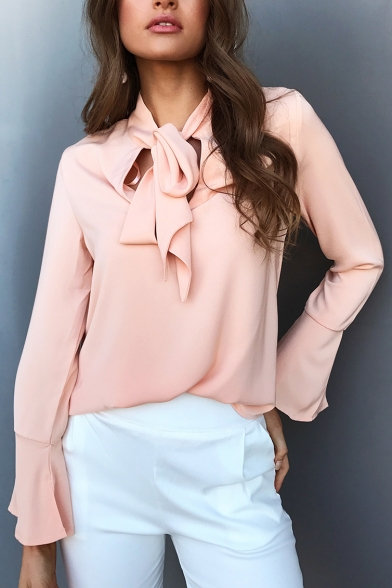 Tie Neck Keyhole Front Plain Long Sleeve Bell Cuff Pullover Blouse