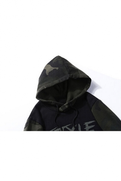 Drawstring Chic Print Letter Unisex Camouflage Color Block Hoodie Hood rawxIwq