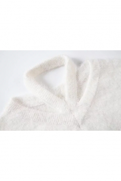 Cold Sweater Balloon Loose Long Halter Sleeves Plain Shoulders Neck Chic Z4wqTE7xUn