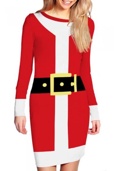 Christmas Santa Belt Printed Color Block Round Neck Long Sleeve Bodycon Dress