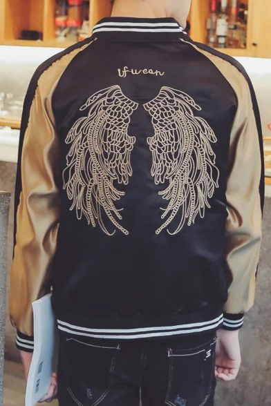 Color Block Wings Embroidered Long Sleeve Baseball Jacket