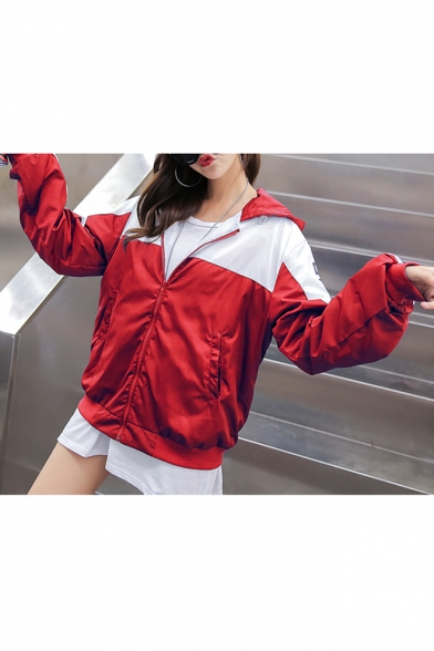 Fashion Color Block Letter Print Long Sleeve Zipper Hooded Coat