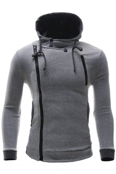 Plain Long Zipper Hood Fashion Hoodie Sleeve Drawstring Simple q1BnwOpxA