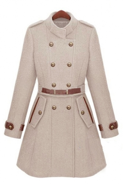 Fashionable Stand-Up Collar Double Breasted Belted Waist Plain Tunic Coat