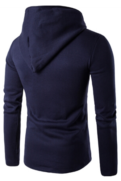 Long Leisure Sleeve Inclined Split Unisex Hoodie Plain Asymmetric Zipper Front aqxtrRSqw