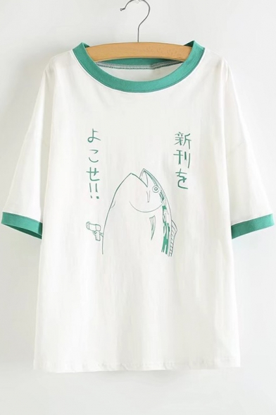 SLeeve Round Neck Print New Cartoon Hem Contrast Fashion Tee Short Uqaxqf