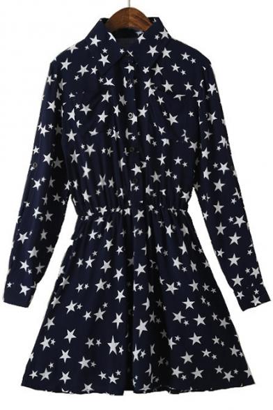 New Fashion Chic Star Pattern Lapel Long Sleeve Buttons Down Shirt Mini Dress