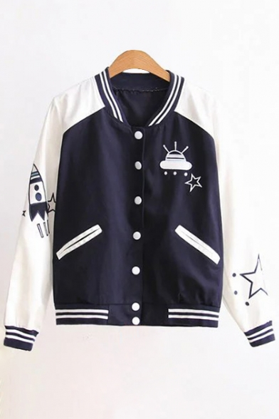 Stand Long Embroidered Cartoon Up Coat Collar Color New Sleeve Fashion Block Baseball SqwcgHfX