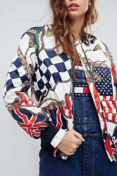 New Fashion Graphic Pattern Long Sleeve Bomber Jacket