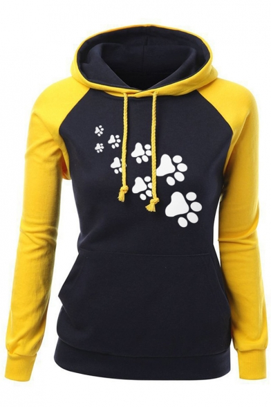 Long Hoodie Cartoon Block New Leisure Fashion Sleeve Color Print ZOqYxFq