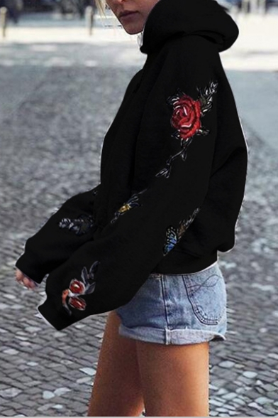 Long New Butterfly Print Hoodie Floral Fashion Sleeve ZZqwz