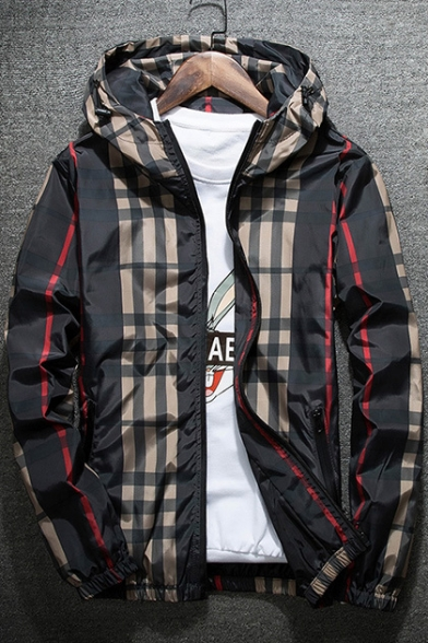 New Fashion Leisure Plaid Pattern Long Sleeve Hooded Coat
