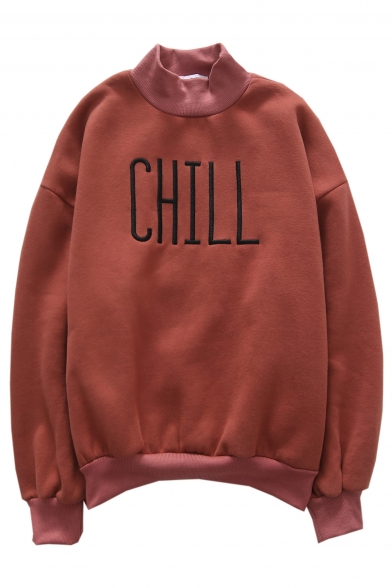 New Fashion Letter Embroidered High Neck Long Sleeve Pullover Sweatshirt