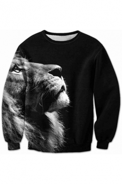 Lion New Print Sleeve Leisure Pullover Long Sweatshirt 55ar1fqn