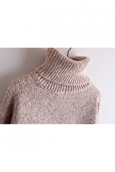 Leisure New Sweater Sleeve Long Turtleneck Plain Pullover znwO0Cq