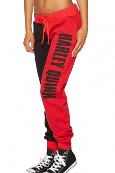 New Stylish Color Block Letter Print Drawstring Waist Sport Pants