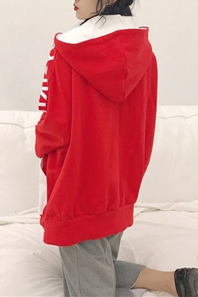 New Stylish Color Block Letter Print Zipper Long Sleeve Hoodie