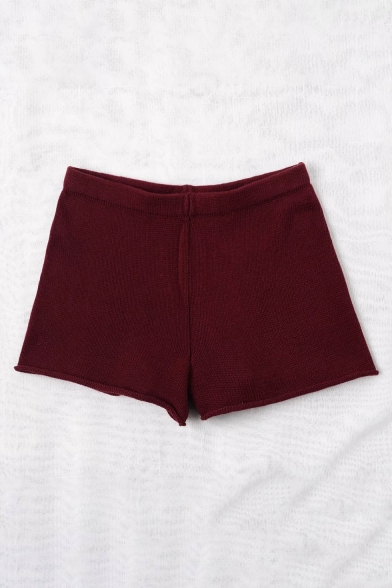 New Stylish High Waist Simple Plain Kitted Shorts