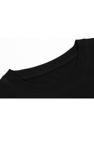 Stylish Neck Short Tee Round Print Sleeve Japanese New T4XqngIdwT