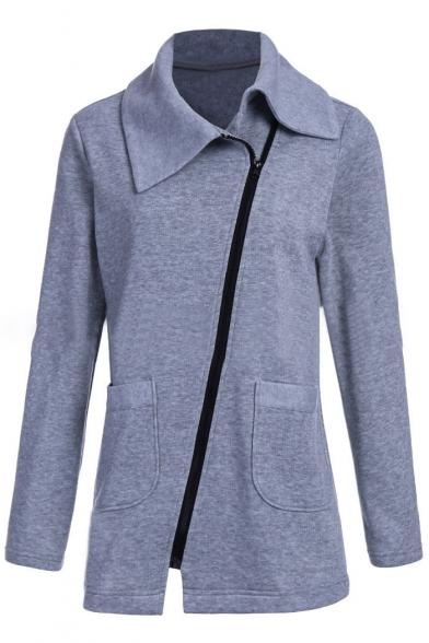 New Stylish Long Sleeve Lapel Zipper Simple Plain Coat