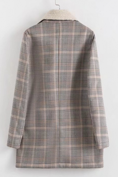 Stylish Sleeve Long New Plaid Notched Lapel Coat Classic dw6xzI