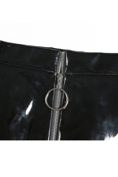 fceecc6ee184 ... New Stylish Zipper Front Simple Plain Faux Leather Mini Skirt ...