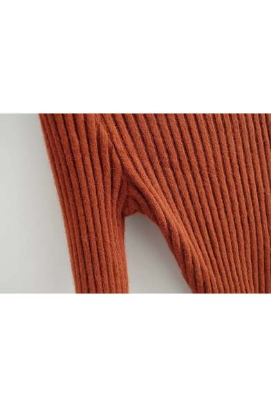 Sweater Neck Sleeve Simple Asymmetric Long Mock Cable WvwWURZq