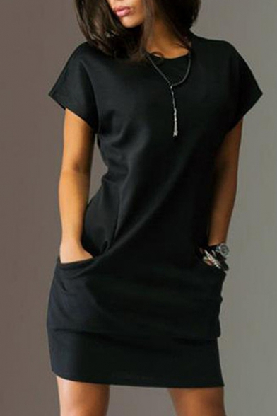 Simple Plain Round Neck Short Sleeve T-Shirt Mini Dress