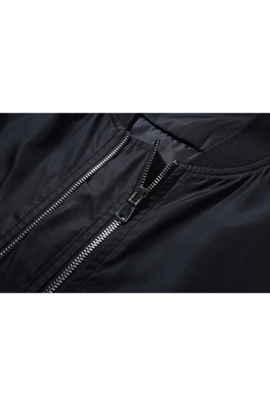 Simple Unisex Jacket Sleeve Strap Zipper Long with Stand Collar Plain Up 0rwXq08