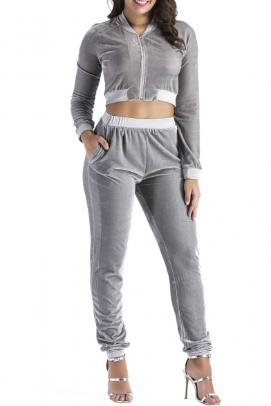 Stand-up Collar Long Sleeves Cropped Zippered Top with Elastic Waist Slim-Fit Pants Pleuche Co-ords