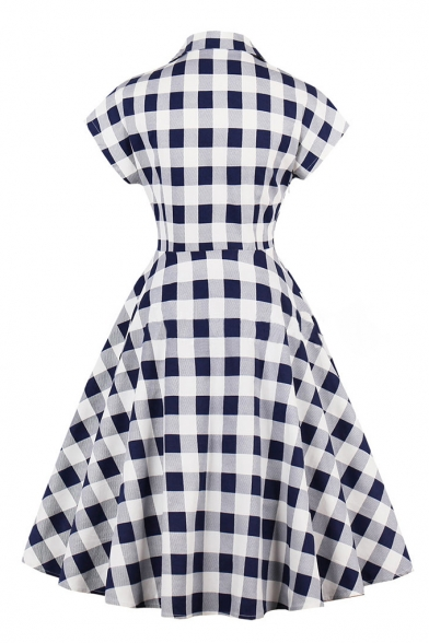 Vintage-Style Checkered Plaids Button-Front Lapel Cap Sleeves Midi Fit & Flare Dress with Pockets