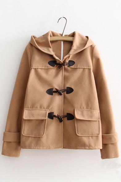 British Style Long Sleeve Toggle Flap Pocket Plain Hooded Coat