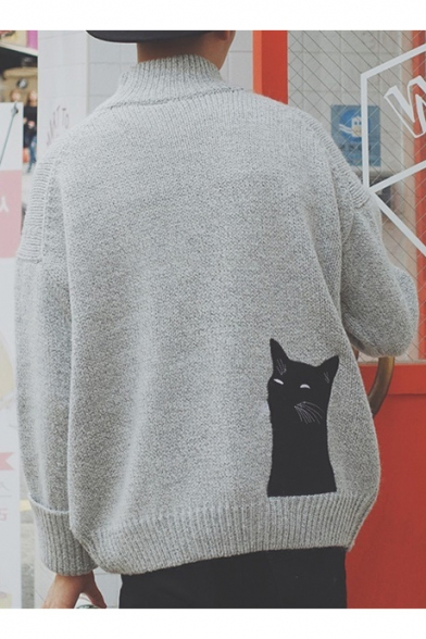 Long Sleeve Cartoon Cat Pullover Print Sweater Neck Mock XqxaC7wx