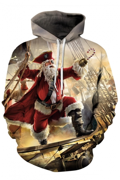 Chic Christmas Theme Drawstring Long Hood Sleeve Print 3D Hoodie ApAnxaEqr