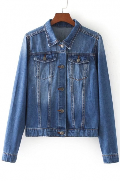 Chic Embroidery Letter Rainbow Pattern Long Sleeve Denim Jacket