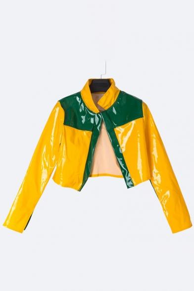 Color Block Lapel Zip Up Long Sleeve PU Coat with High Waist PU Mini Skirt