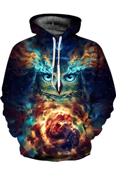 Fashionable Galaxy Owl Flame Pattern Long Sleeves Pullover Hoodie with Pocket